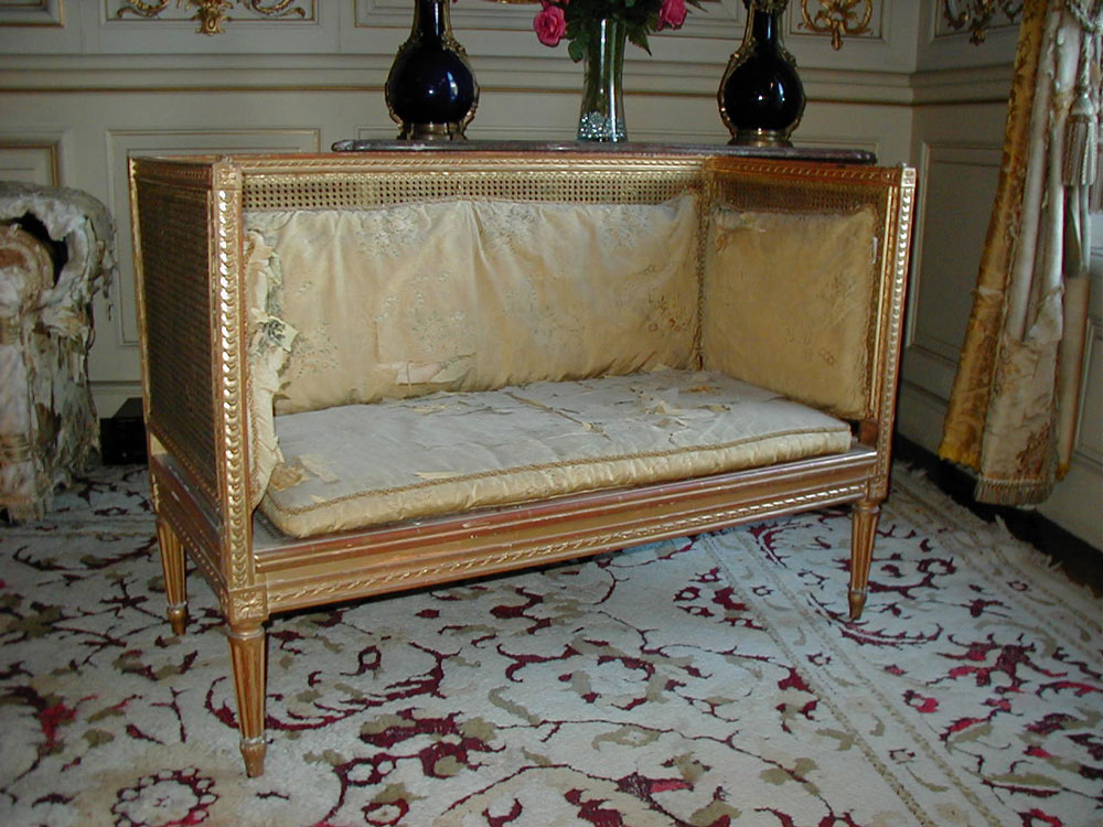 Louis XIV-style Brocade Box Settee before restoration