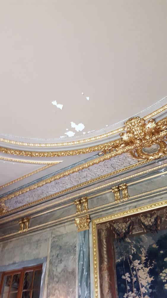peeling ceiling in dining room