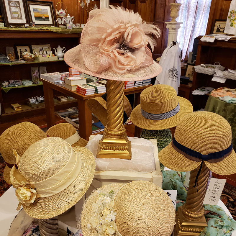 Hats featured in the gift shop