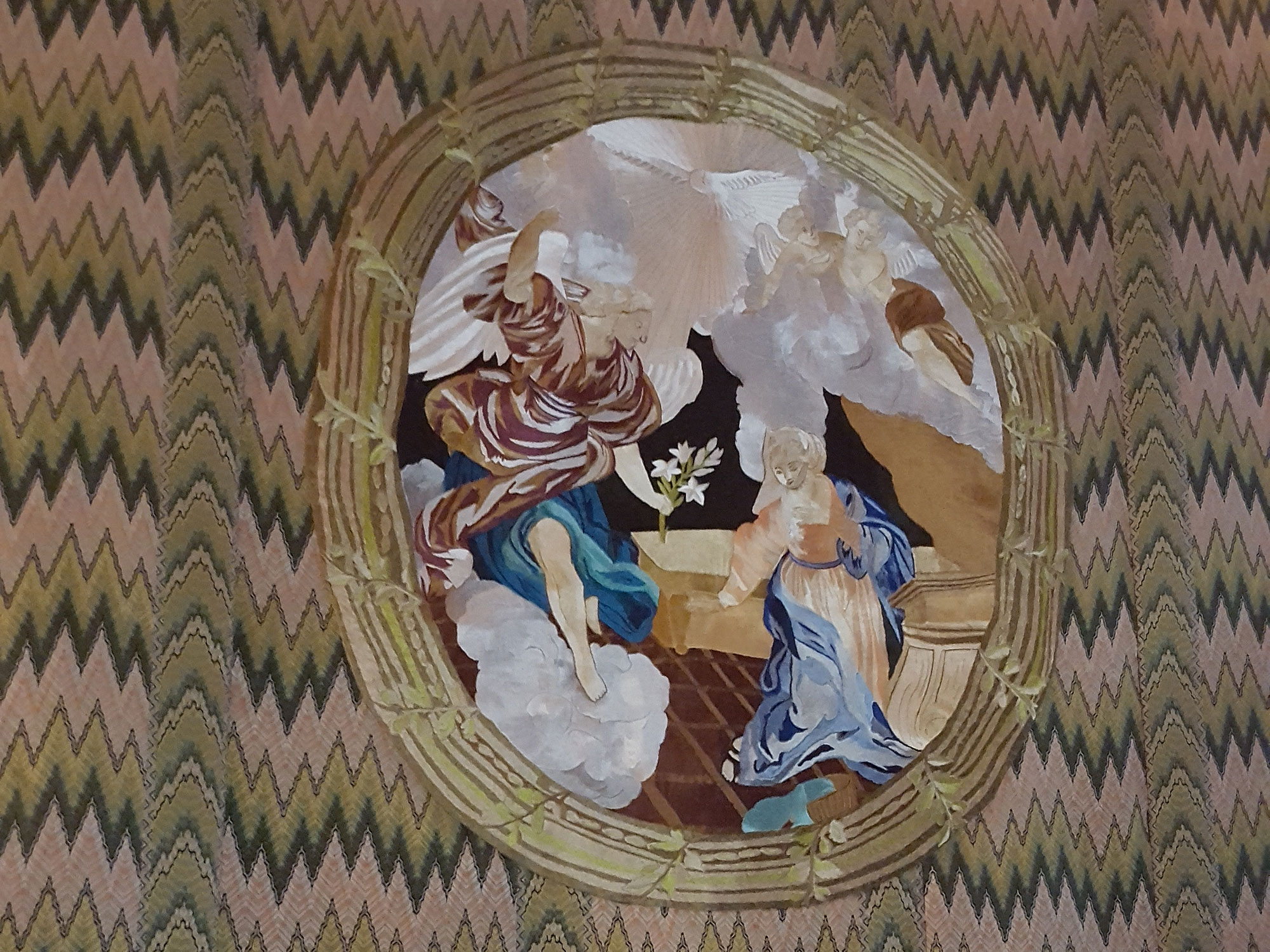 Tapestry at top of stairs
